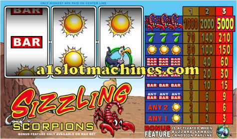 1 Line Reel Slot Machine - Sizzling Scorpions
